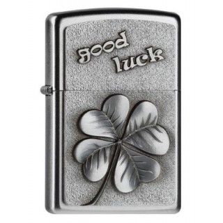 Zippo Good Luck Clover Satin Finish